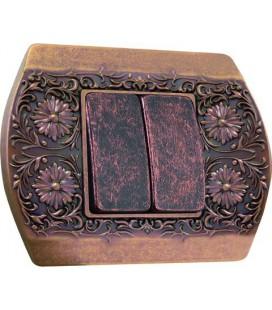 2-х клавишный выключатель в сборе FEDE коллекция Sanremo, Rustic Copper