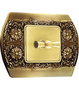 2-х клавишный поворотный выключатель в сборе FEDE коллекция Sanremo, Bright Patina