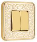 2-х клавишный выключатель в сборе FEDE коллекция EMPORIO, Gold White Patina