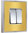 Двухклавишный выключатель в сборе FEDE коллекция BELLE EPOQUE METAL CHROME, Bright Gold + Bright Chrome
