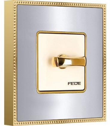 Двухклавишный поворотный выключатель в сборе FEDE коллекция BELLE EPOQUE METAL GOLD, Bright Chrome + Bright Gold