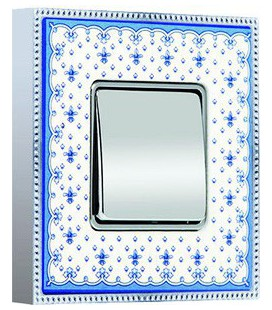 Одноклавишный выключатель в сборе FEDE коллекция BELLE EPOQUE PORCELAIN, Blue Lys-Bright Chrome