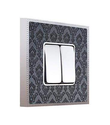 Двухклавишный выключатель в сборе FEDE коллекция BELLE EPOQUE TAPESTRY, Decornoir - Bright Chrome