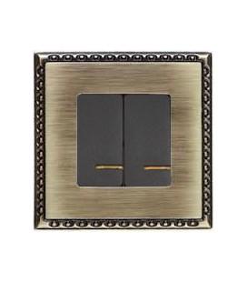 Двухклавишный выключатель в сборе FEDE коллекция Toledo, Bright Patina
