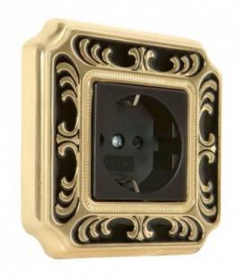 Розетка в сборе FEDE коллекция SMALTO ITALIANO Siena, Black