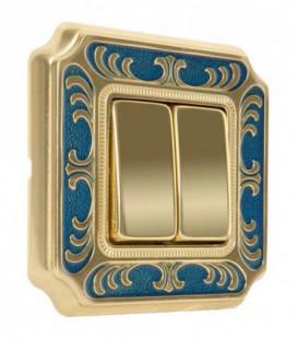 Двухклавишный выключатель в сборе FEDE коллекция SMALTO ITALIANO Siena, Blue