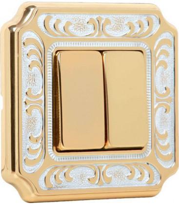 Двухклавишный выключатель в сборе FEDE коллекция SIENA, Gold White Patina