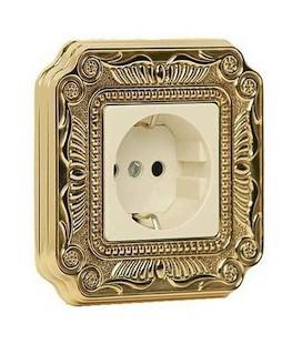 Розетка в сборе FEDE коллекция FIRENZE, Bright Gold