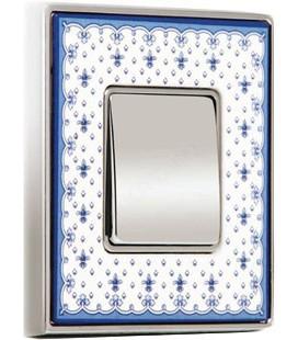 Одноклавишный выключатель в сборе FEDE коллекция Vintage Porcelain, Blue Lys-Bright Chrome