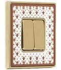 Двухклавишный выключатель в сборе FEDE коллекция Vintage Porcelain, Brown Lys-Bright Gold