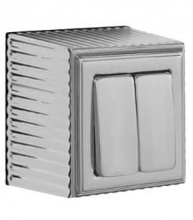 Двухклавишный выключатель в сборе FEDE коллекция ROMA SURFACE, Antique Silver