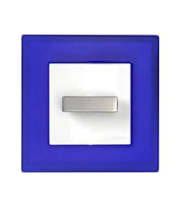 Поворотный выключатель Fontini Collection F-37, рамка синее стекло, ручка нержавеющая сталь