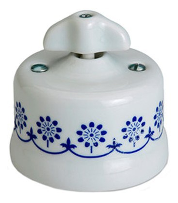 Поворотный выключатель Fontini Collection Garby, фарфор с синим рисунком, ручка ретро