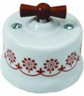 Поворотный выключатель Fontini Collection Garby, фарфор с коричневым рисунком, ручка дерево