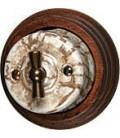 Поворотный выключатель Fontini Collection Garby, мрамор,рамка старое дерево
