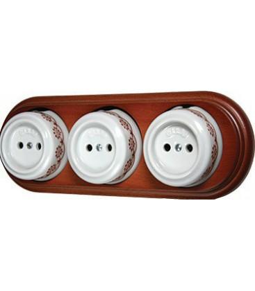 Тройная розетка Fontini Collection Garby, фарфор с коричневым рисунком, рамка мед