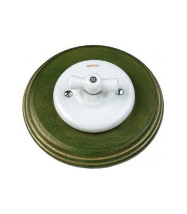 Поворотный выключатель Fontini Collection Garby Colonial, рамка желто-зеленое дерево, ручка фарфор