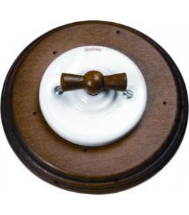 Поворотный выключатель Fontini Collection Garby Colonial, рамка старое дерево, ручка старое дерево