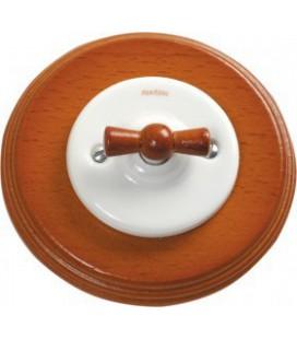 Поворотный выключатель Fontini Collection Garby Colonial, рамка дерево цвета мед, ручка мед