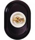 Поворотный выключатель Fontini Collection Venezia Oval, рамка орех, накладка белый/золото