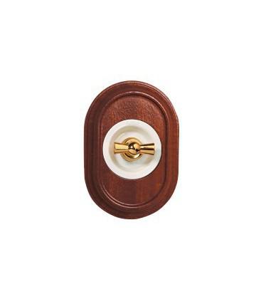 Поворотный выключатель Fontini Collection Venezia Oval, рамка сапелли, накладка белый/золото
