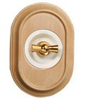 Поворотный выключатель Fontini Collection Venezia Oval, рамка дуб, накладка белый/золото