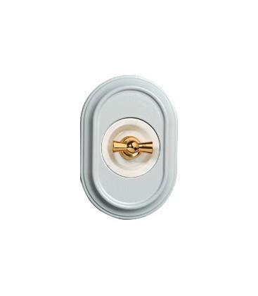 Поворотный выключатель Fontini Collection Venezia Oval, рамка белый лакированный, накладка белый/золото