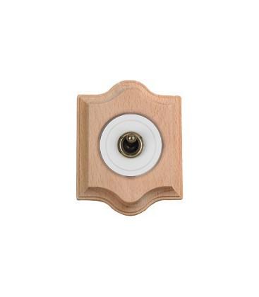 Выключатель тумблерный Fontini Collection Venezia Clasica, рамка натуральное дерево, накладка белый/бронза