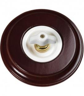 Поворотный выключатель Fontini Collection Venezia Toscana, рамка орех, накладка ретро керамика/белый