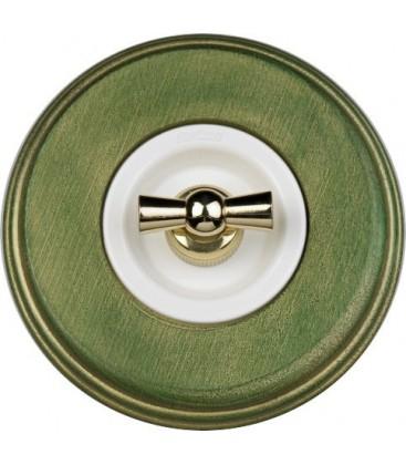 Поворотный выключатель Fontini Collection Venezia Colonial, рамка зеленый, накладка золото/белый