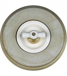 Поворотный выключатель Fontini Collection Venezia Colonial, рамка серо-золотое дерево, накладка керамика/белый