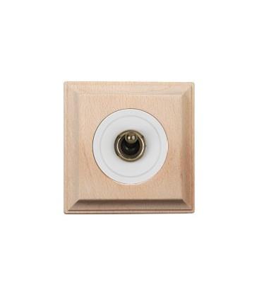 Выключатель тумблерный Fontini Collection Venezia Carre, рамка натуральное дерево, накладка белый/бронза