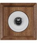Выключатель тумблерный Fontini Collection Venezia Carre, рамка сапелли, накладка белый/бронза