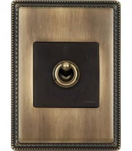 Выключатель тумблерный Fontini Collection Venezia Metal, рамка бронза, накладка бронза/коричневый