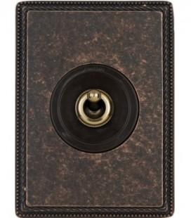 Выключатель тумблерный Fontini Collection Venezia Metal, рамка состаренная медь, накладка бронза/коричневый