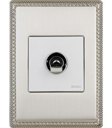 Выключатель кулисного типа Fontini Collection Venezia Metal, рамка хром,хромированный/белый