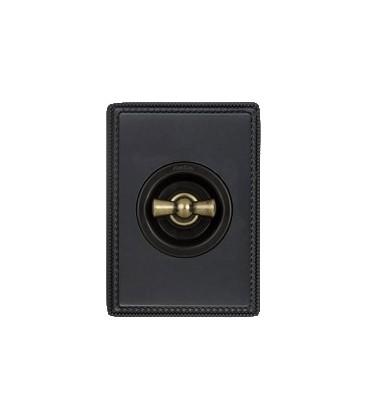 Поворотный выключатель Fontini Collection Venezia Metal, рамка антрацит, накладка бронза/коричневый