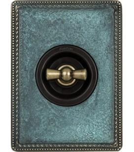 Поворотный выключатель Fontini Collection Venezia Metal, рамка патина, накладка бронза/коричневый