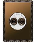 Двухклавишный тумблерный выключатель Fontini Collection Venezia Metal, рамка бронза, накладка бронза/белый