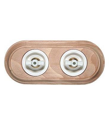 Поворотный выключатель Fontini Collection Venezia Oval, рамка 2 поста натуральное дерево, накладка керамика/белый