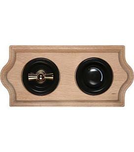 Поворотный выключатель + диммер Fontini Collection Venezia Clasica, рамка натуральное дерево, накладка золото/коричневое