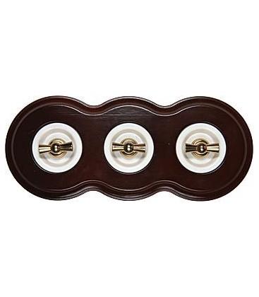 Поворотный выключатель Fontini Collection Venezia Toscana, 3-ая рамка орех, накладка белый/золото