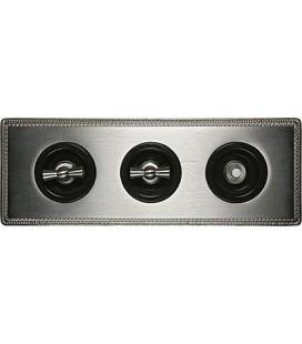 Поворотный выключатель Fontini Collection Venezia Metal, 3-ая рамка хром, накладка хром/коричневый