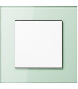 Выключатель Jung серия LS Plus, стекло светло-зеленое/белый