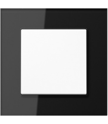 Выключатель Jung серия LS Plus, стекло черное/белый