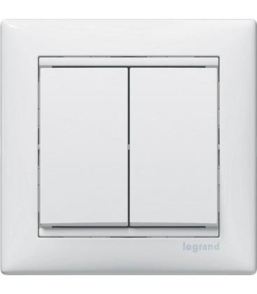 Двухклавишный выключатель Legrand серия Valena, белый
