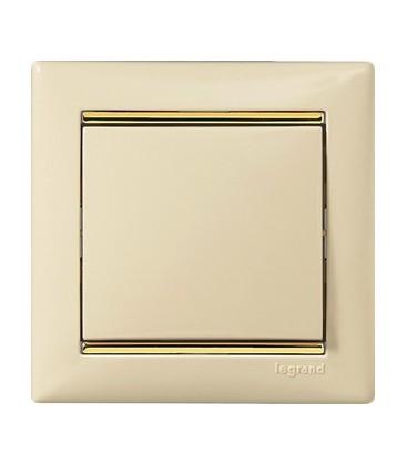 Выключатель Legrand серия Valena, слоновая кость/золотой штрих