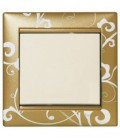 Выключатель Legrand серия Valena, золото барокко/белый