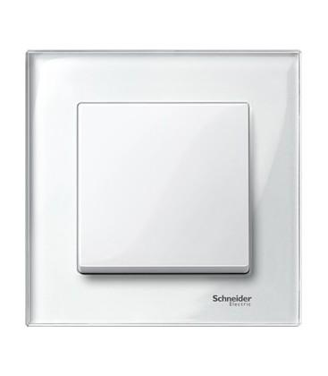 Выключатель Merten серия M-Elegance стекло, бриллиант/белый