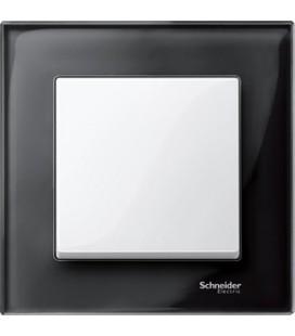 Выключатель Merten серия M-Elegance стекло, черный оникс/белый